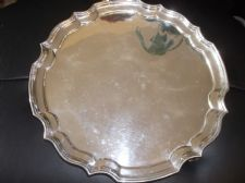 "VINTAGE HARRISON FISHER CO FLUTED SILVER PLATED TRAY ON 3 SCROLL FEET 12"" DIA"